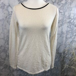 LOFT Long Sleeve White Lace Blouse With Stretch SM